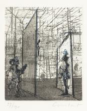 Sade in the Labyrinth, a signed etching by Constant