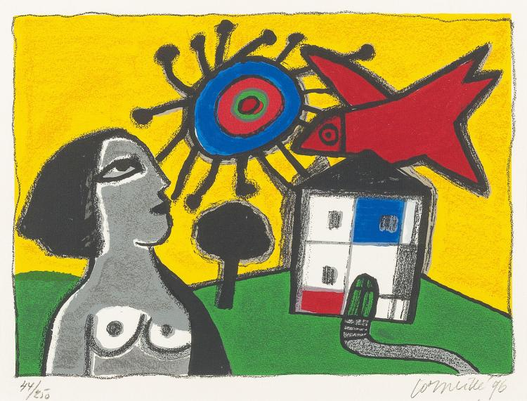 Dutch house with nude, sun and pigeon by Corneille