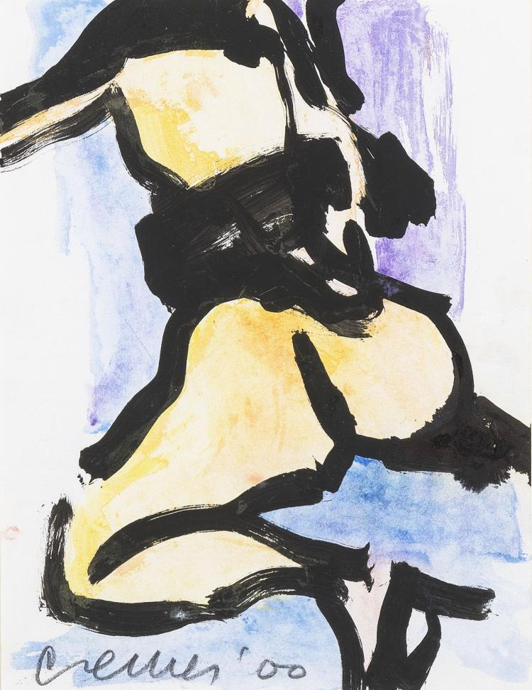 Nude kneeling woman, a signed gouache by Jan Cremer