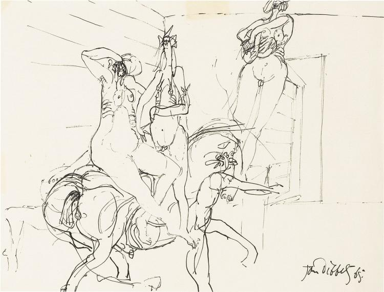 An inscribed portfolio with four drawings by Dibbets