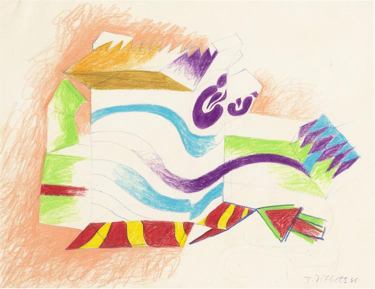 Fine colourful drawing from the sixties, signed Jan Dibbets