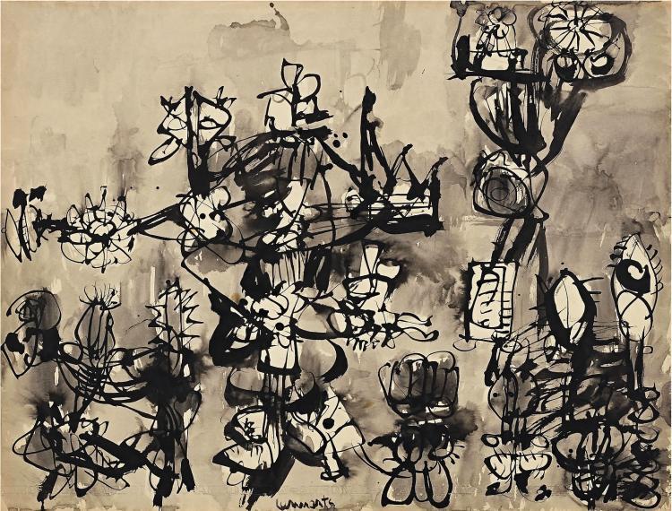 Ink drawing by Johan Lennarts, founder of 'Schijt aan Schilderkunst'