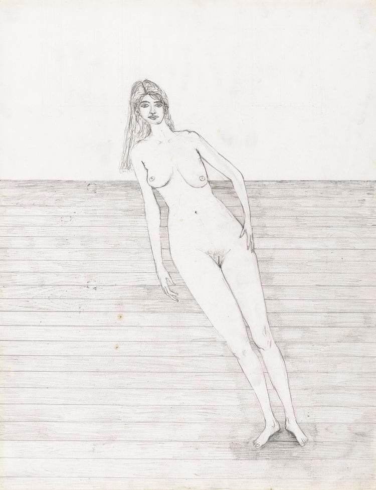 Skew girl, pencil drawing by Paul de Reus