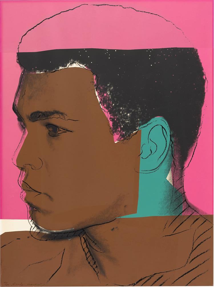 Numbered and signed, Warhol's iconic screen print of Ali