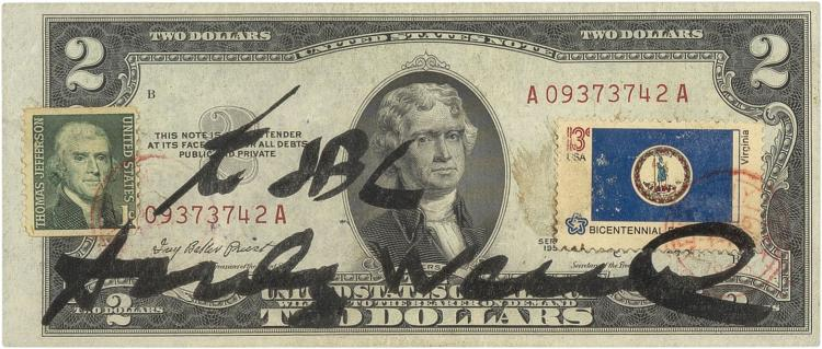 A Two Dollar Bill Signed And Stamped By Andy Warhol