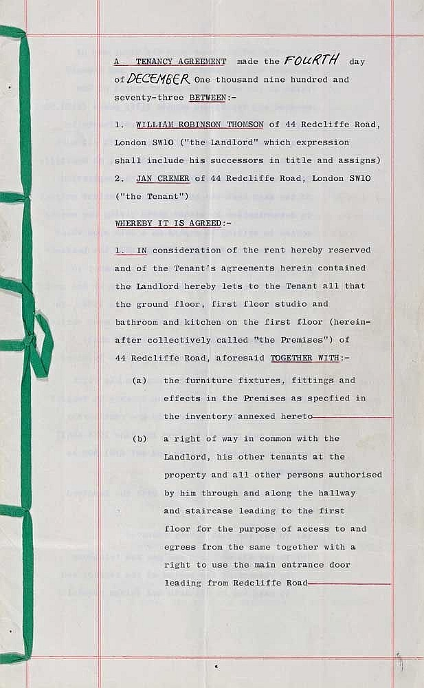 Original Tenancy Agreement From The London Years