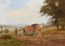 Gelderland landscape with horses by Jan Holtrop