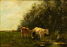 Milking the cows, characteristic oil painting by Van Ingen