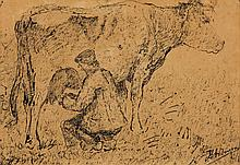 An original signed ink drawing by Van Ingen of a farmer milking a cow