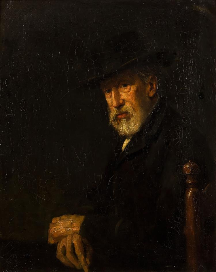 A self-portrait (?) by Jozef Israëls inscribed to Willem Roelofs