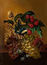 Fruits and butterfly, classic still life Jan van der Waarden