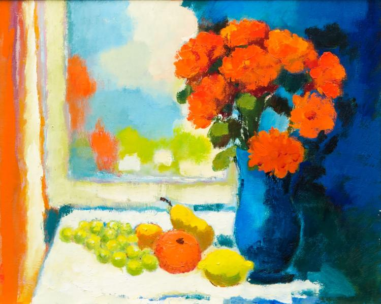View with fruit and flowers by Toon Hermans