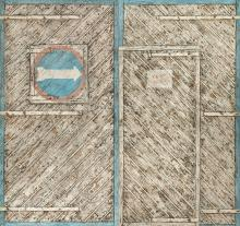 Illusion of weathered doors created by Har Sanders