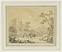 Dionys van Dongen: 2 hillside landscapes with travellers with horses on a path, a castle in the distance