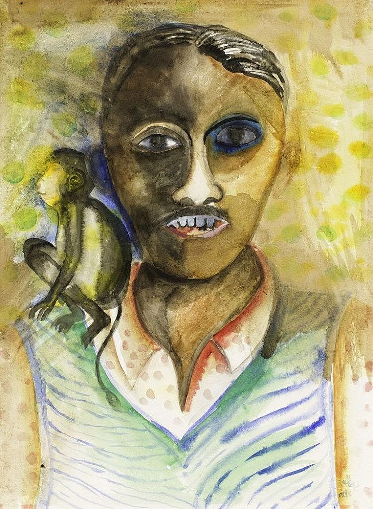 Man with a Monkey by Bhupen Khakhar
