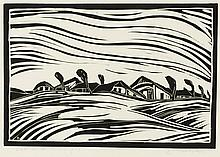 Landscape, woodcut by Peter van den Braken