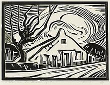 Farm, woodcut by Peter van den Braken