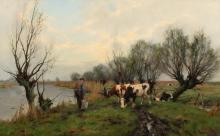 Early spring landscape with farmer and cows