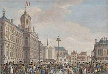 Lively and detailed view on Dam square by Reinier Vinkeles