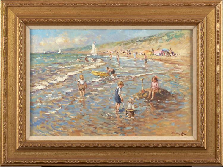 Beach scene in Katwijk, characteristic work by Niek van der
