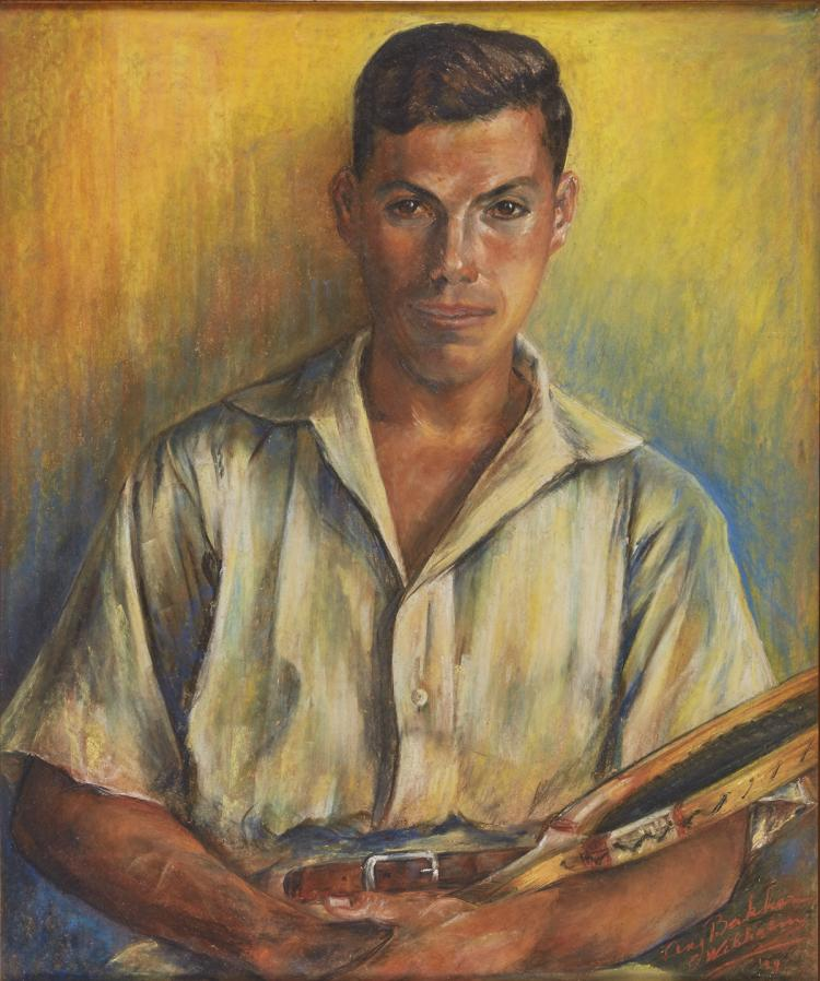 Young man with tennis racquet by Bakker Wilhelm