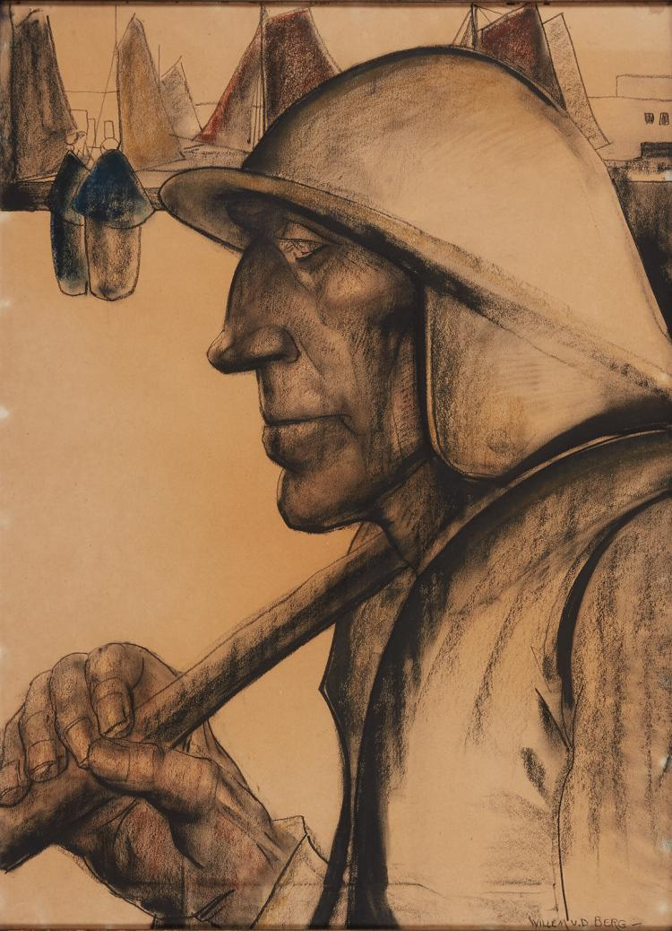 Drawing of a fisherman by Willem van den Berg