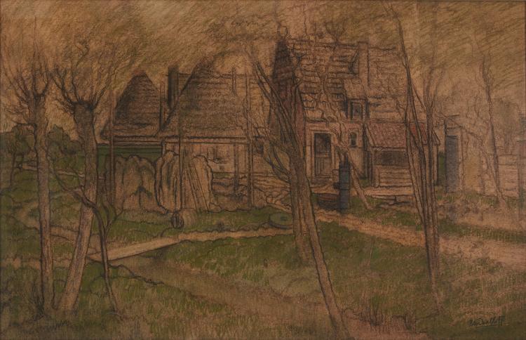 Art Nouveau farm yard by Van Daalhoff, a monumental pastel