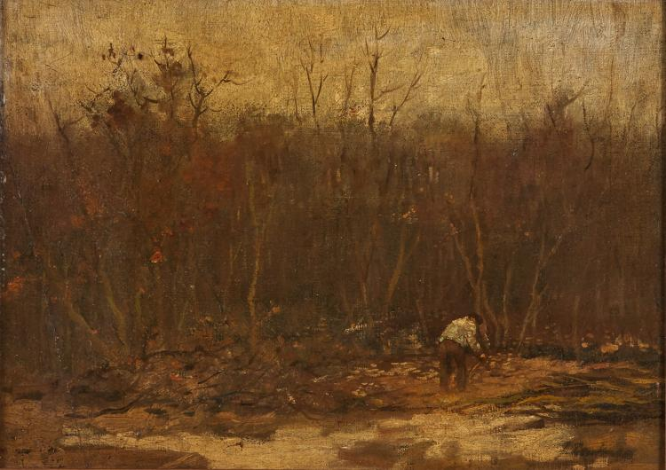 A woodcutter at work by Franz Deutmann
