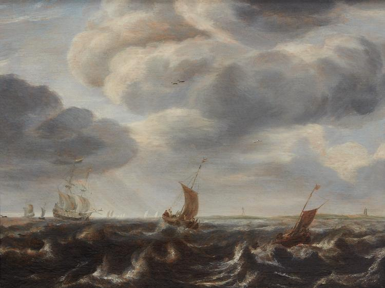 Pieter Mulier I - Ships in a rough sea