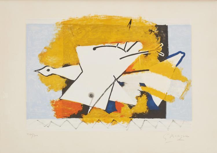Signed by Georges Braque, a lithograph in colours