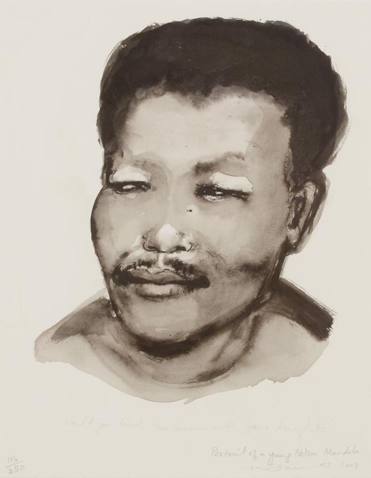 Iconic portrait of Nelson Mandela by Marlene Dumas