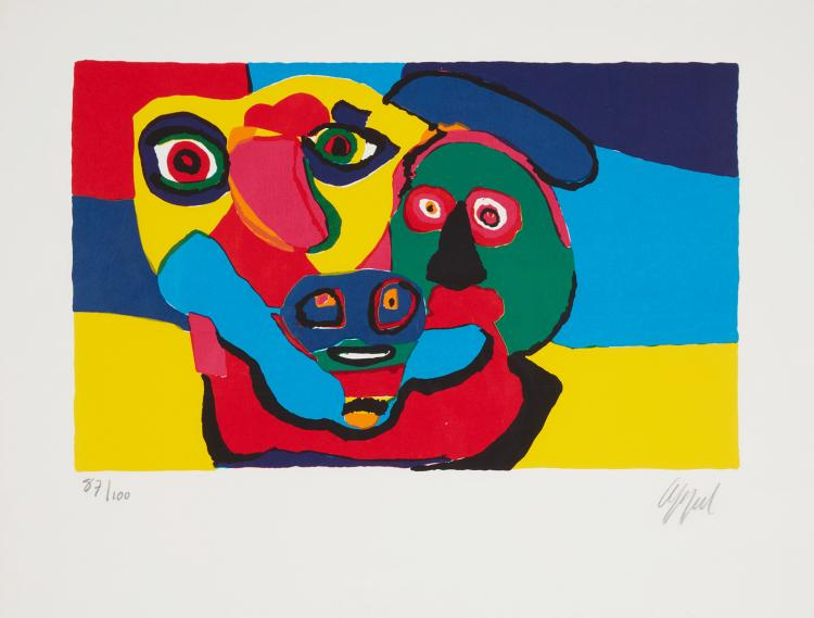 Faces, original signed lithograph by Karel Appel