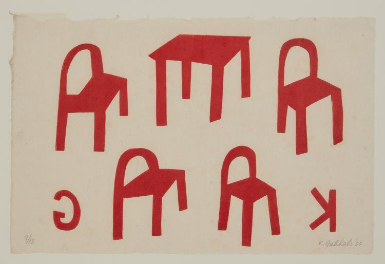 A woodcut in red by Klaas Gubbels