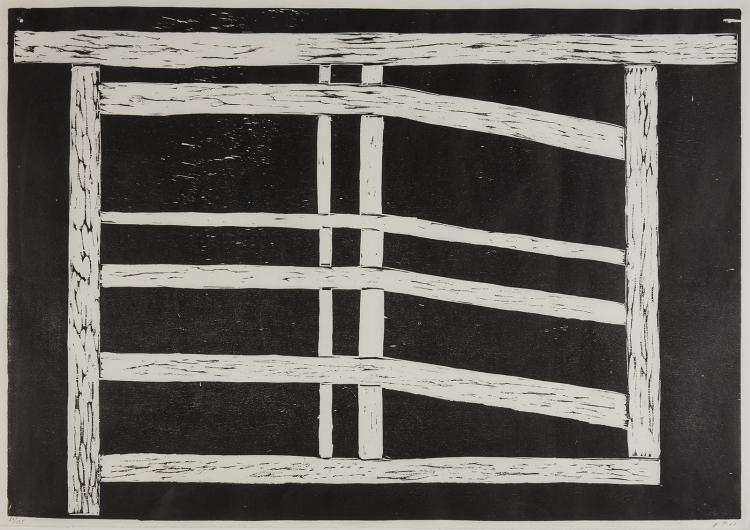 A large woodcut by Avery Preesman