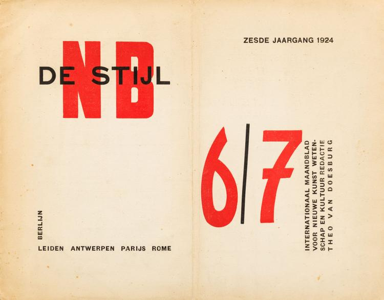 Odd issue of De Stijl, contributions by Mondraan and Van Doesburg