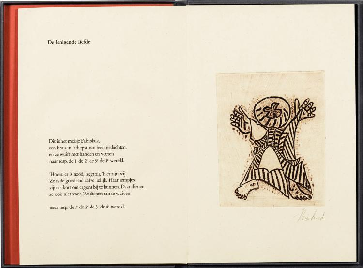 Rare work by Herman de Coninck with 6 etchings by Reinhoud