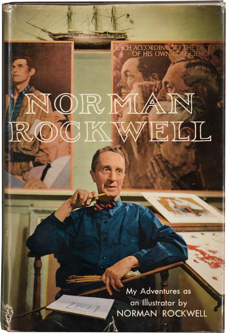 A signed copy of the autobiography of Norman Rockwell