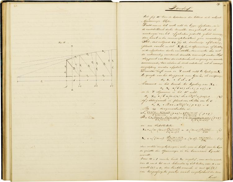 Manuscript by the construction engineer of the Waal-bridge in Bommel