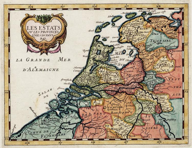 Colourful map of the Low Countries by Philippe Briet (1648)