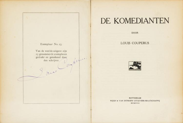 One of 25 suede deluxe copies signed by Louis Couperus