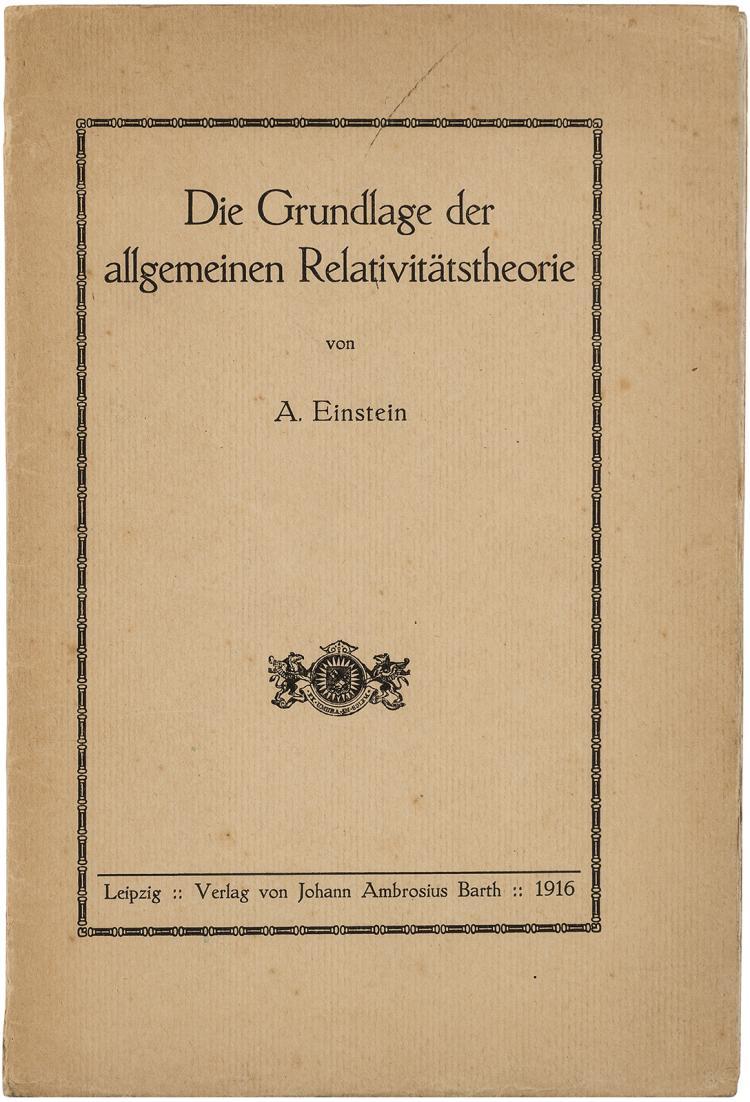 Moritz Schlick's copy of Einstein's masterpiece in true first edition