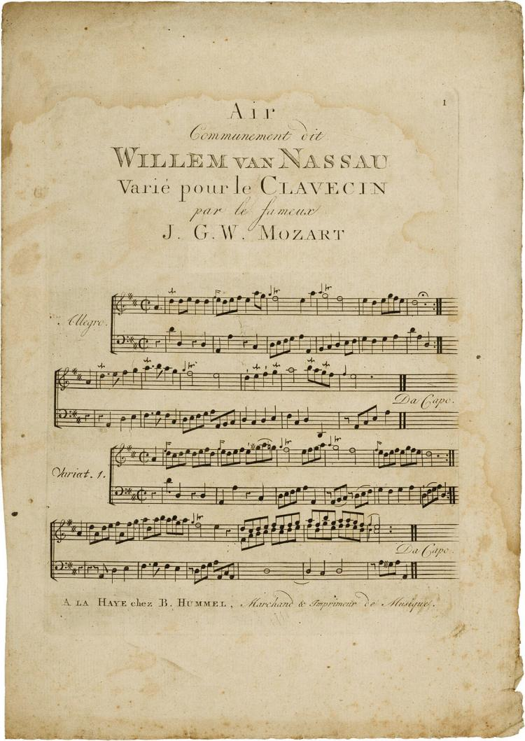 10 year old Mozart's Willem V variations, issued in Holland