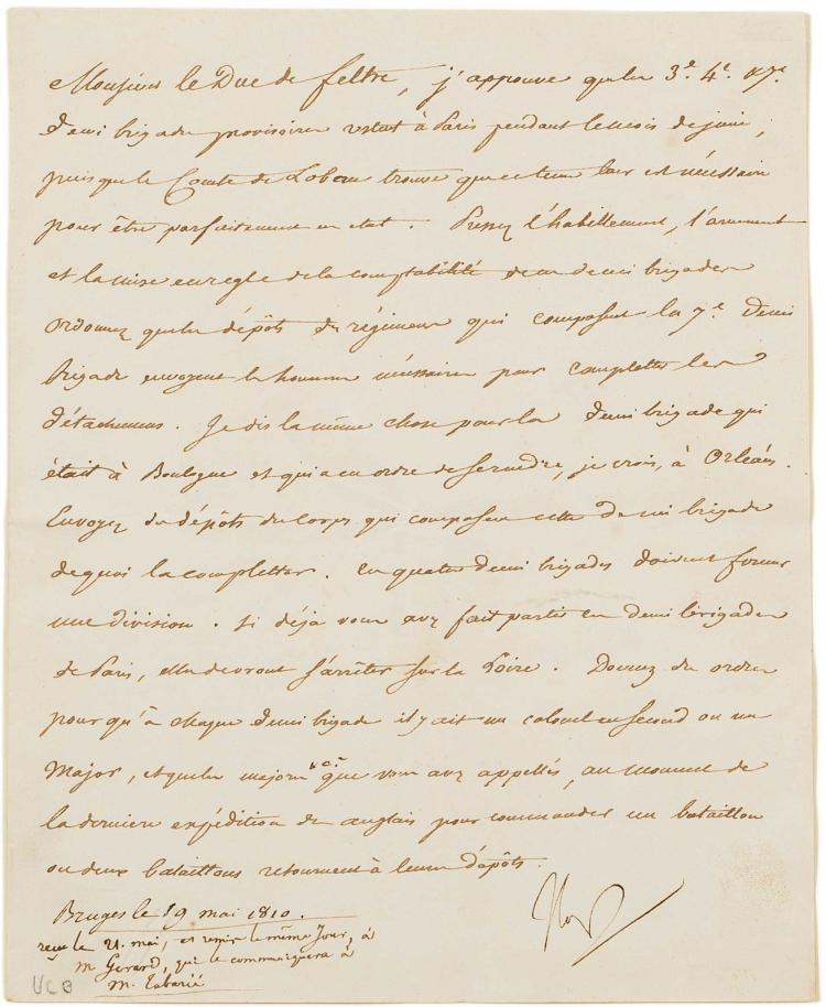 Autograph letter by Napoleon to his Minister of War