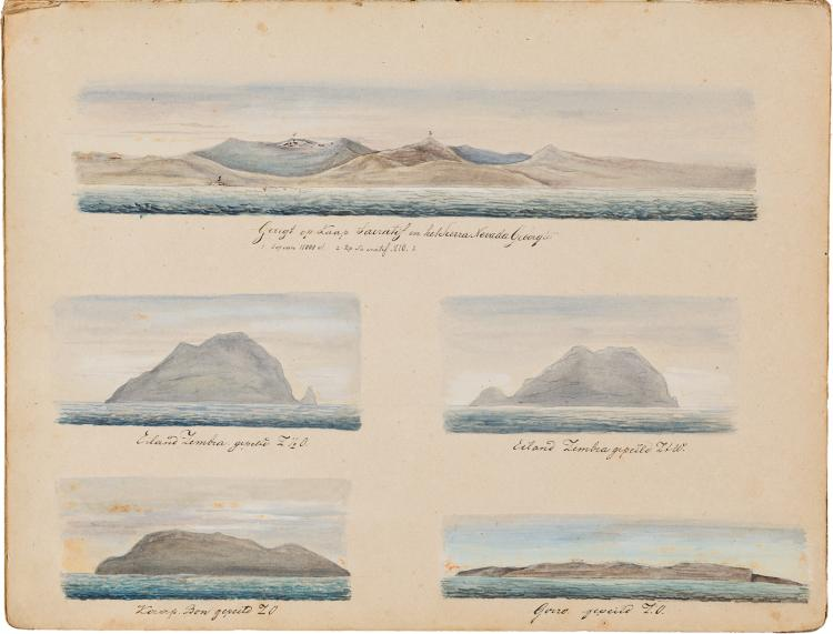 Unique ship's log with stunning watercolours from a trip to the Indies
