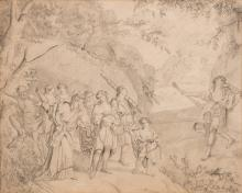 19th century drawing with Apollo, satyr and dwarf
