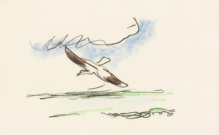 Baudelaire's albatross in the air, engraved by Kees van Dongen