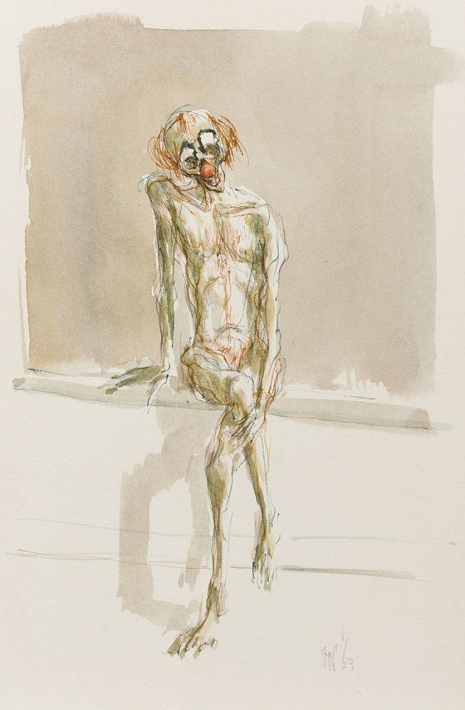 Starving clown. Watercolour by Peter Vos