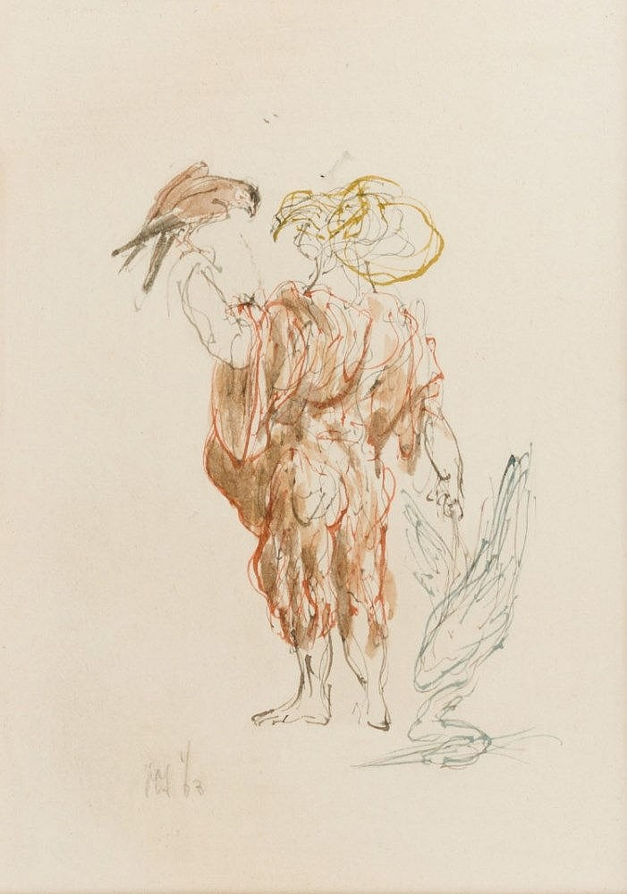 Man with a falcon, drawing by Peter Vos