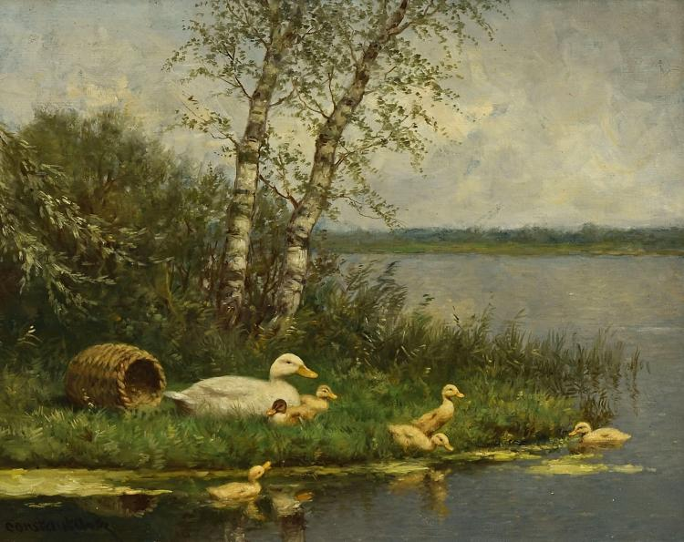 Ducks, fine characteristic painting by Constant Artz