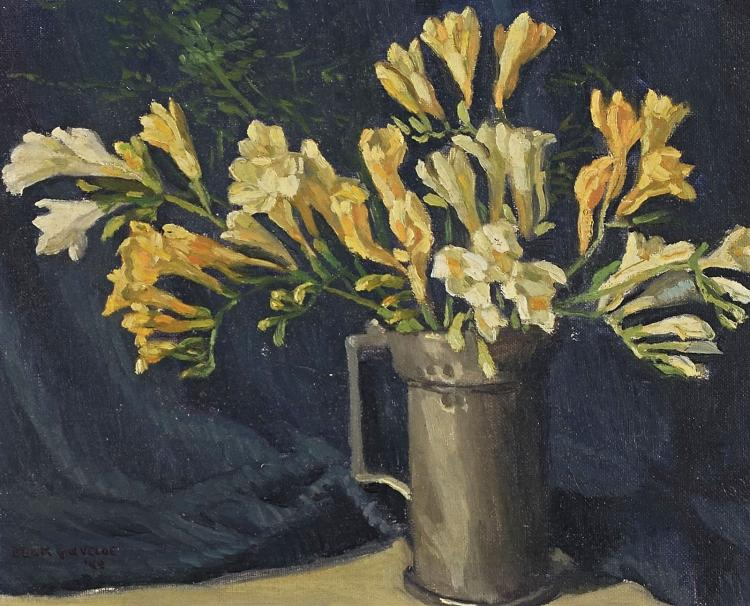 Still life with flowers by Ad Blok van der Velden